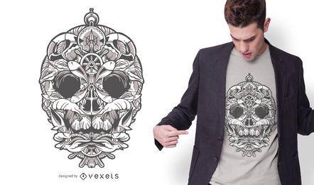 Diseño de camiseta de calavera ornamental náutica