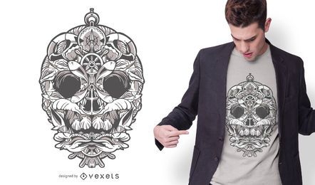 Nautic Ornamental Skull T-shirt Design