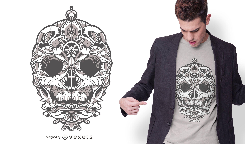 Nautic Ornamental Skull T-shirt Design