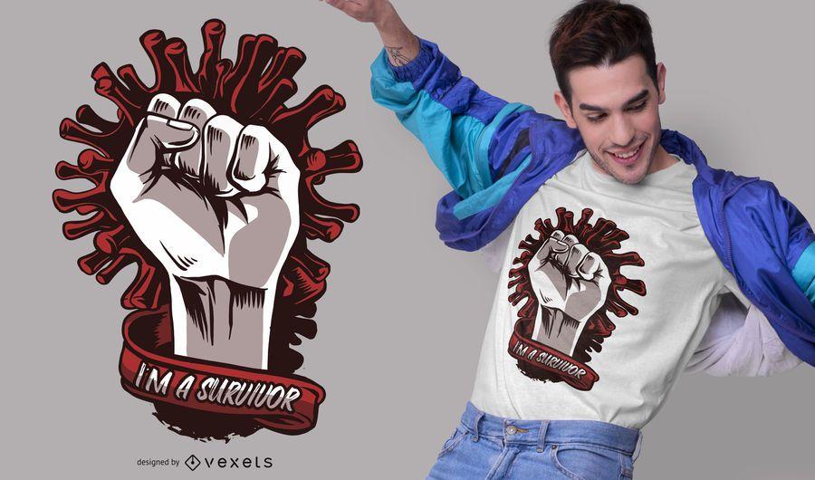 Diseño de camiseta de sobreviviente de coronavirus