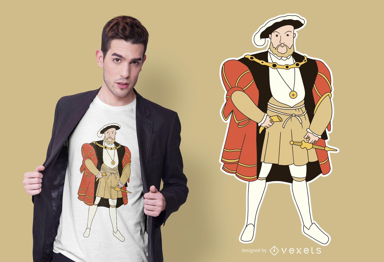 Diseño de camiseta de personaje de Henry VIII