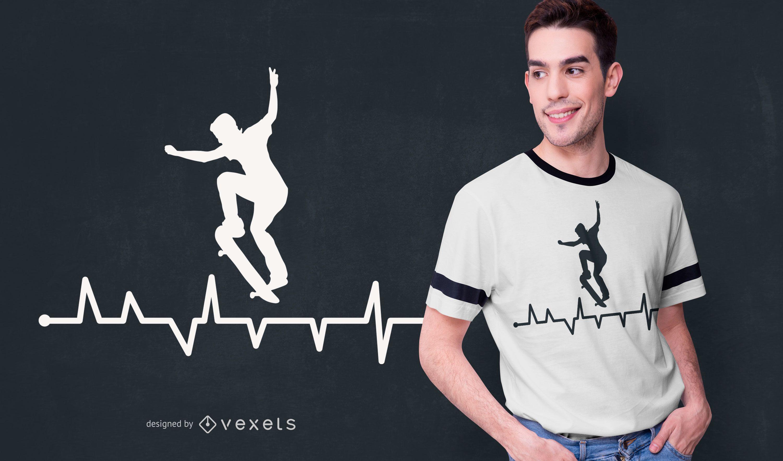Diseño de camiseta Skateboard Heart Line