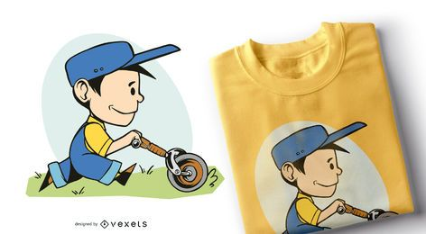 Design de camiseta de menino de fazenda
