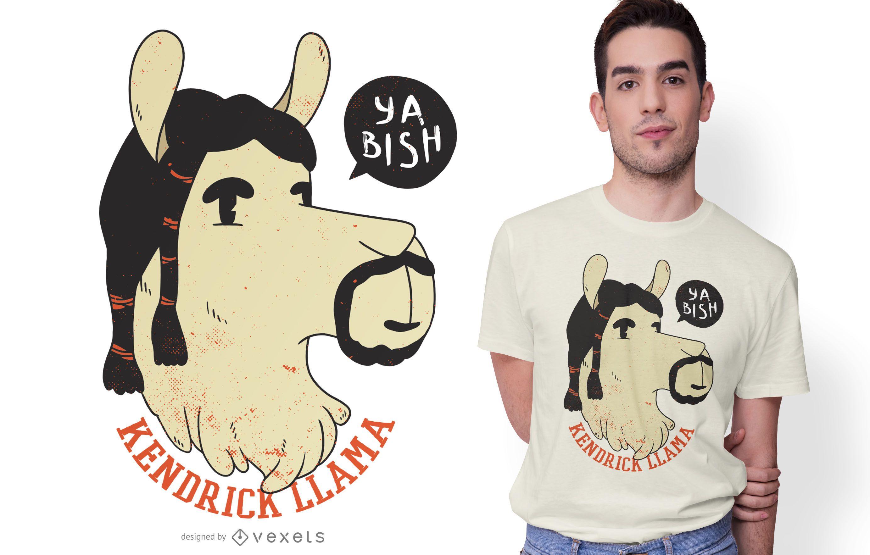 Diseño de camiseta Kendrick Llama Funny