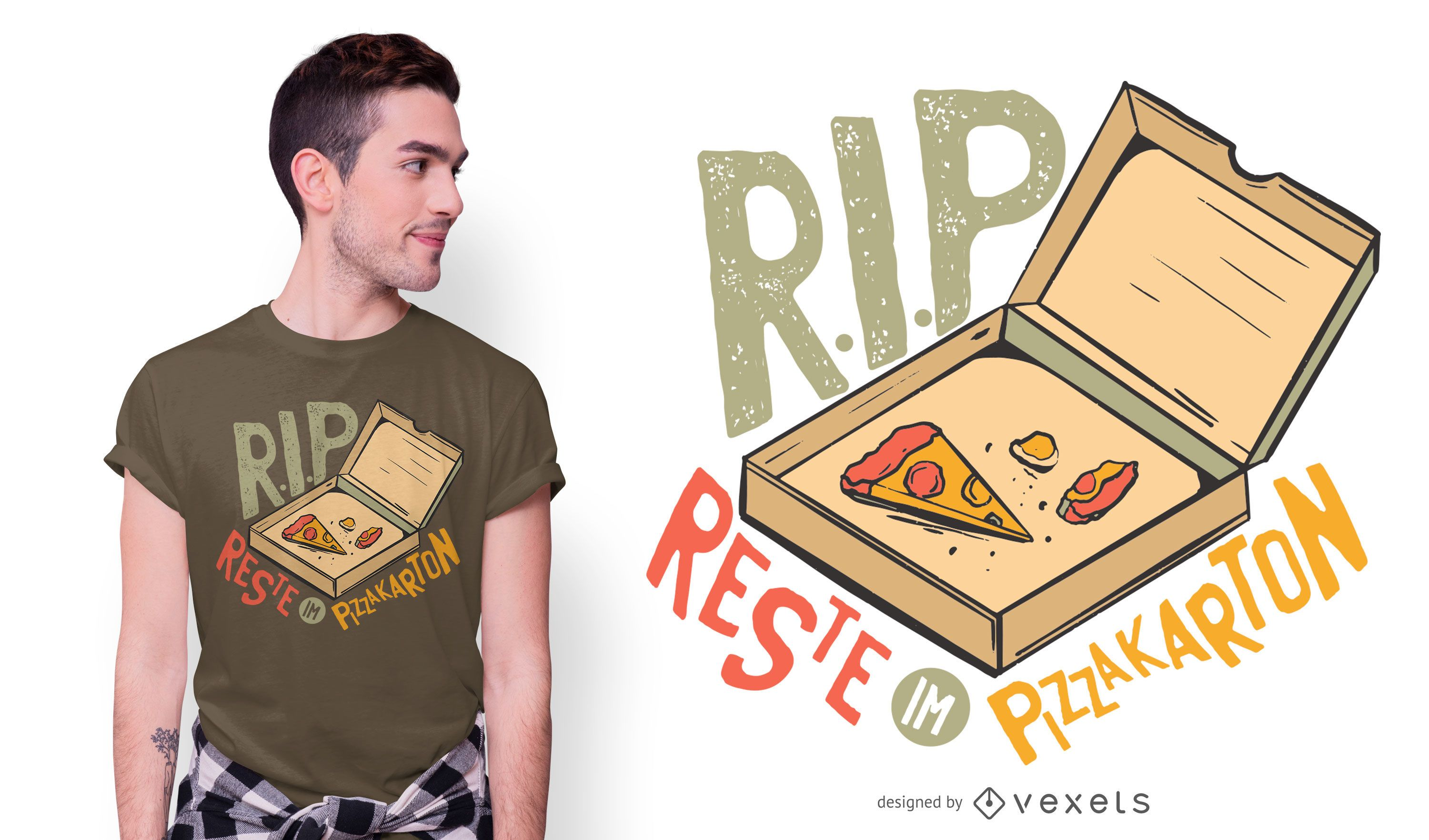 Funny Pizza German Quote T-shirt Design