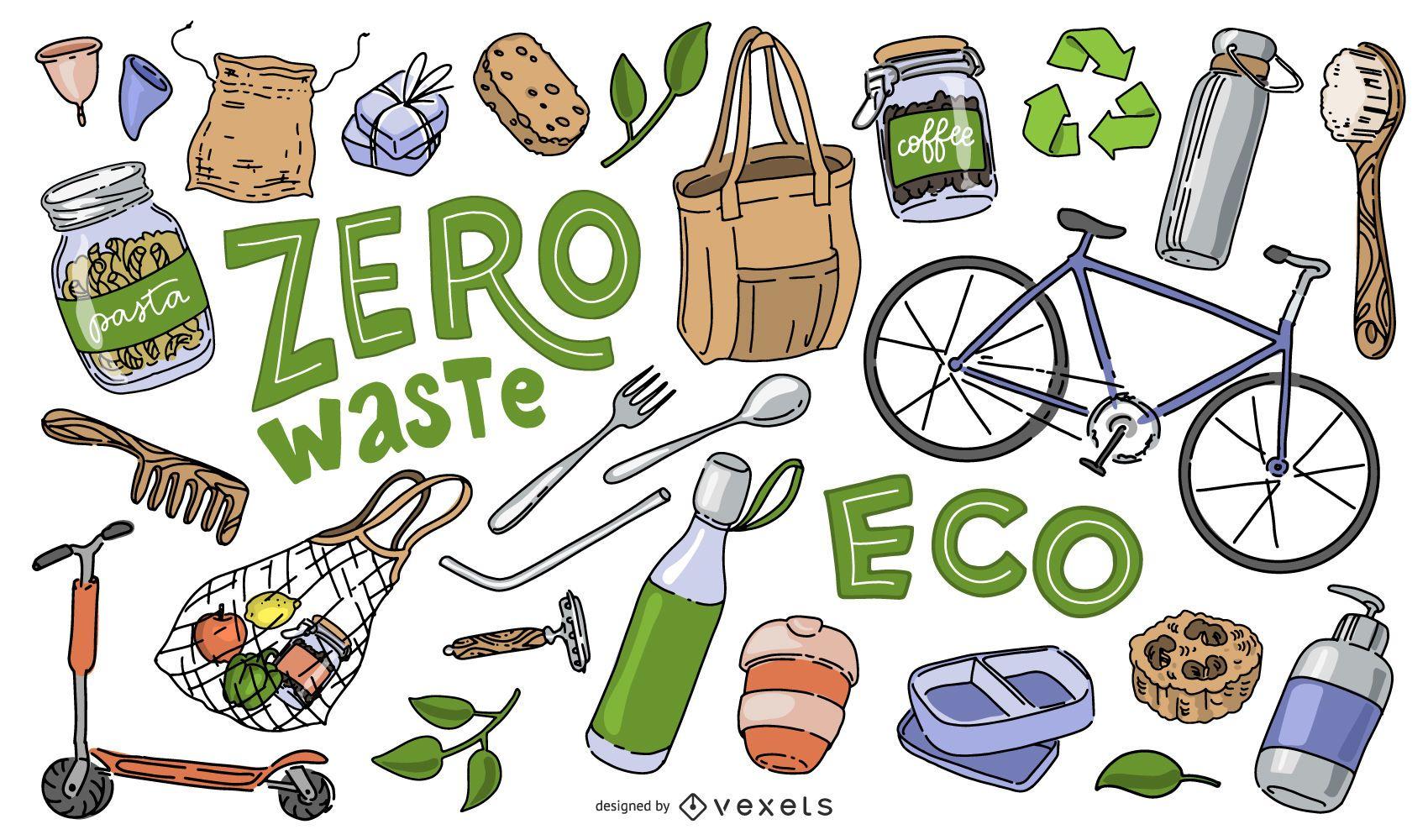 Colección de elementos de Doodle del Día de la Tierra