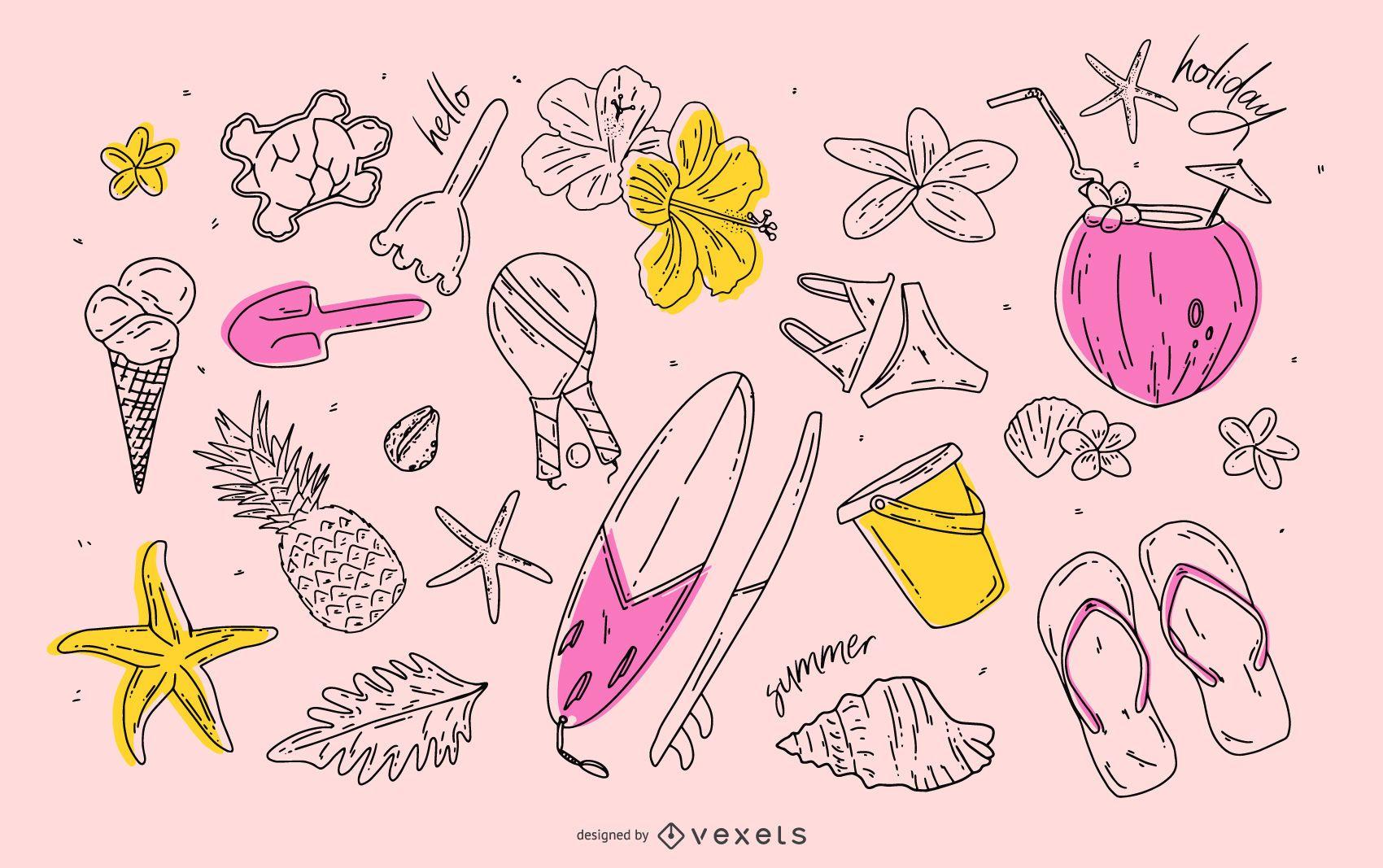 Conjunto de elementos de trazo de verano