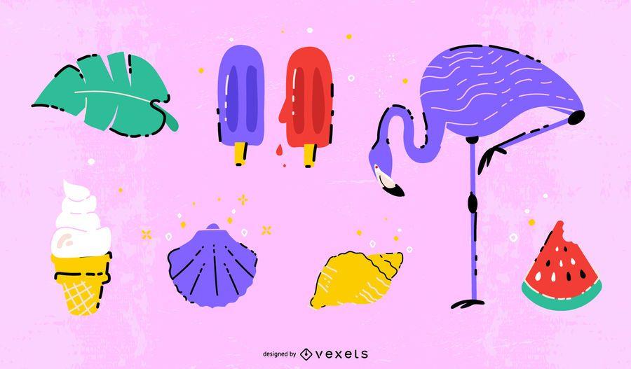 Conjunto de elementos de verano