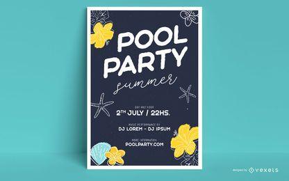 Modelo de cartaz - festa na piscina de verão
