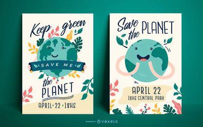Conjunto de modelo de cartaz do dia da terra