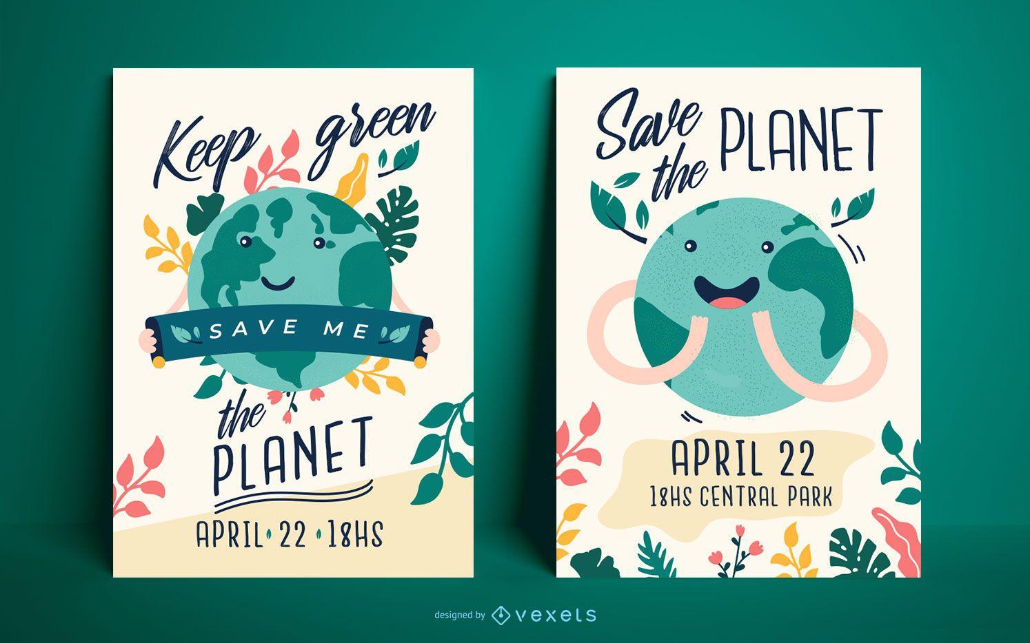 Conjunto de plantillas de carteles del día de la tierra