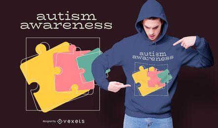 Diseño de camiseta de rompecabezas de concienciación sobre el autismo