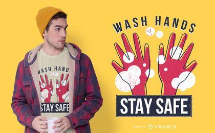 Design de t-shirt de citações de mãos de coronavírus