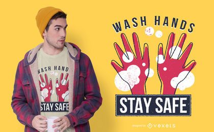 Diseño de camiseta de cita de manos de coronavirus