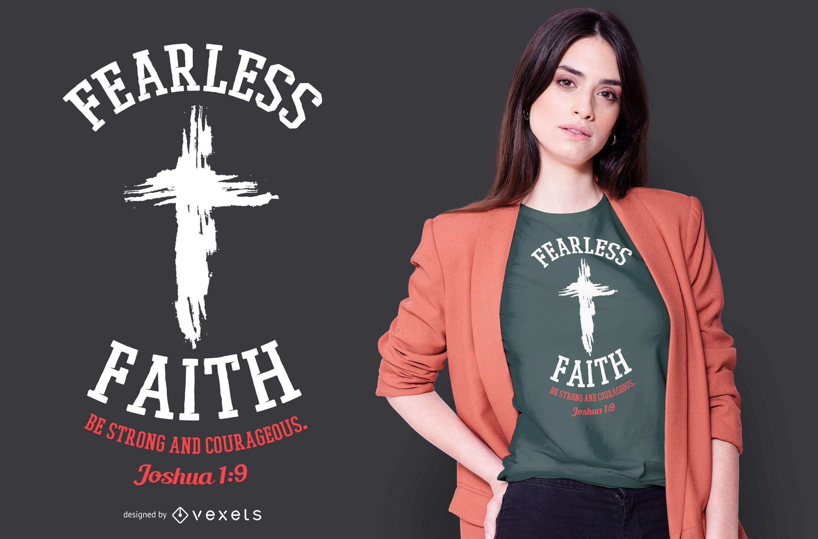 Fearless Faith Grunge Cross T-shirt Design