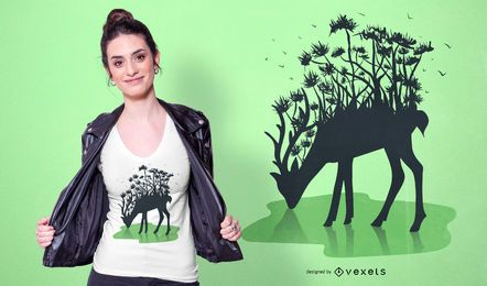 Design de t-shirt de silhueta de veado de floresta