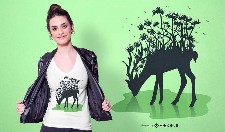 Forest Deer Silhouette T-shirt Design