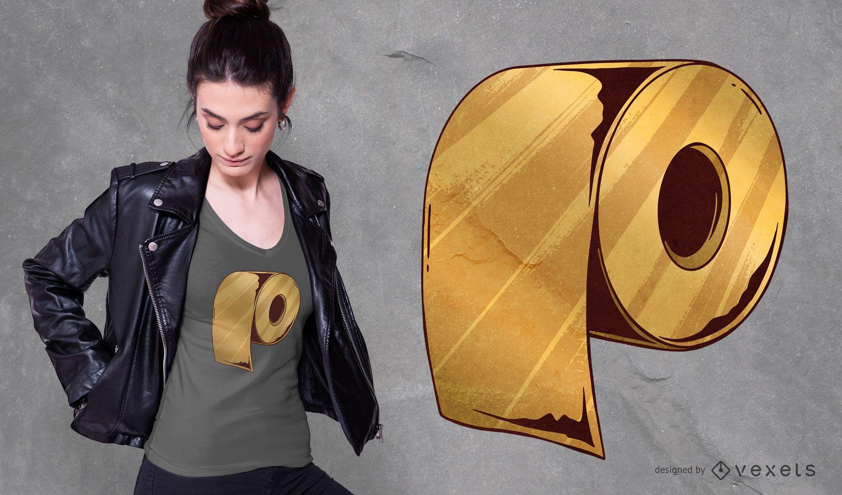Design de camiseta de rolo de papel higiênico dourado