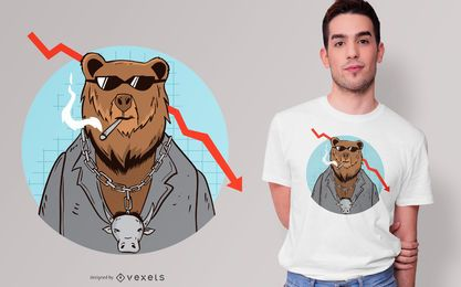 Bear Market Trend Cartoon T-shirt Design