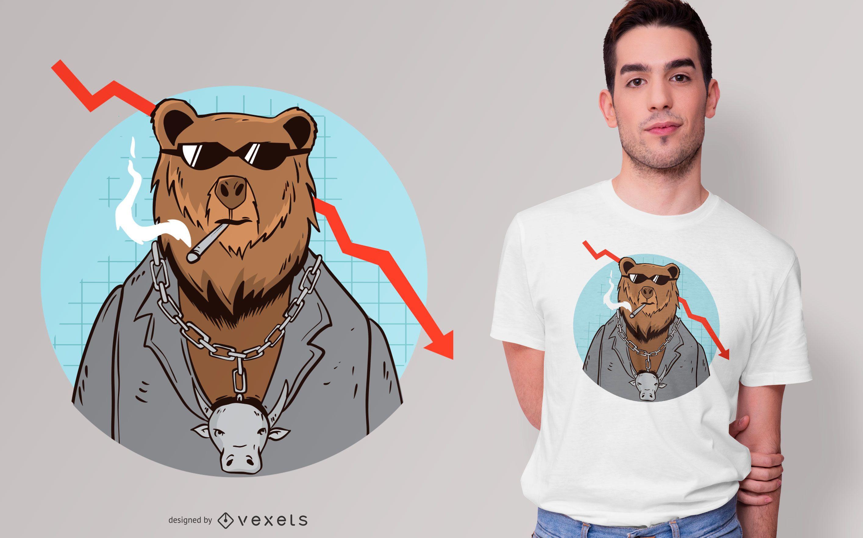 Bear Market Trend Cartoon T-shirt Design
