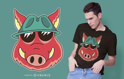 Diseño de camiseta de dibujos animados de jabalí