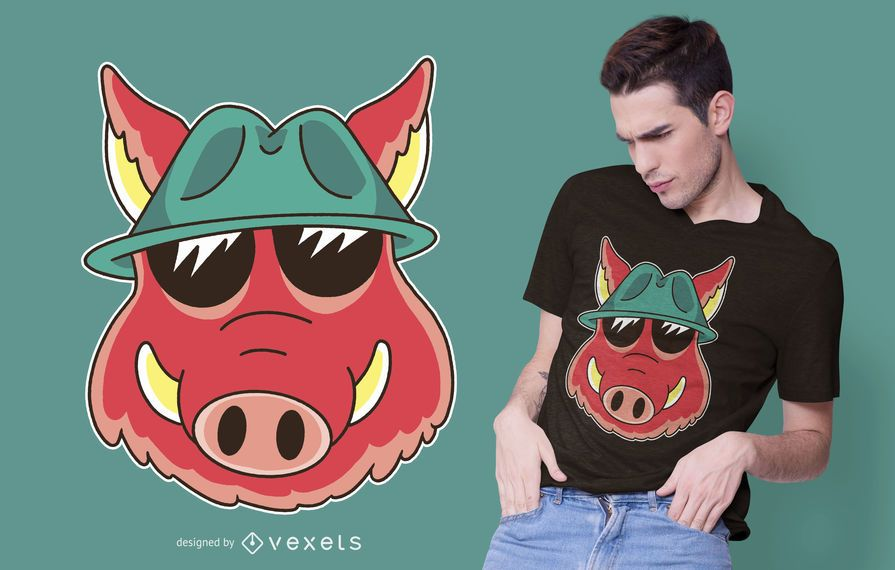 Wild Boar Cartoon T-shirt Design