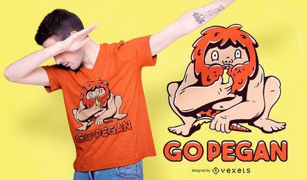 Diseño de camiseta Go Pegan Caveman