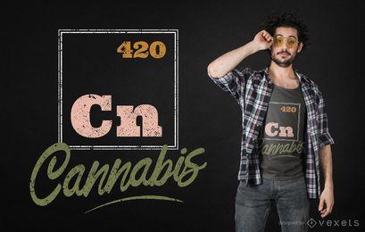 Diseño de camiseta de elemento periódico de cannabis