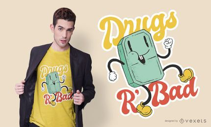 Drugs Are Bad Cartoon T-shirt Design