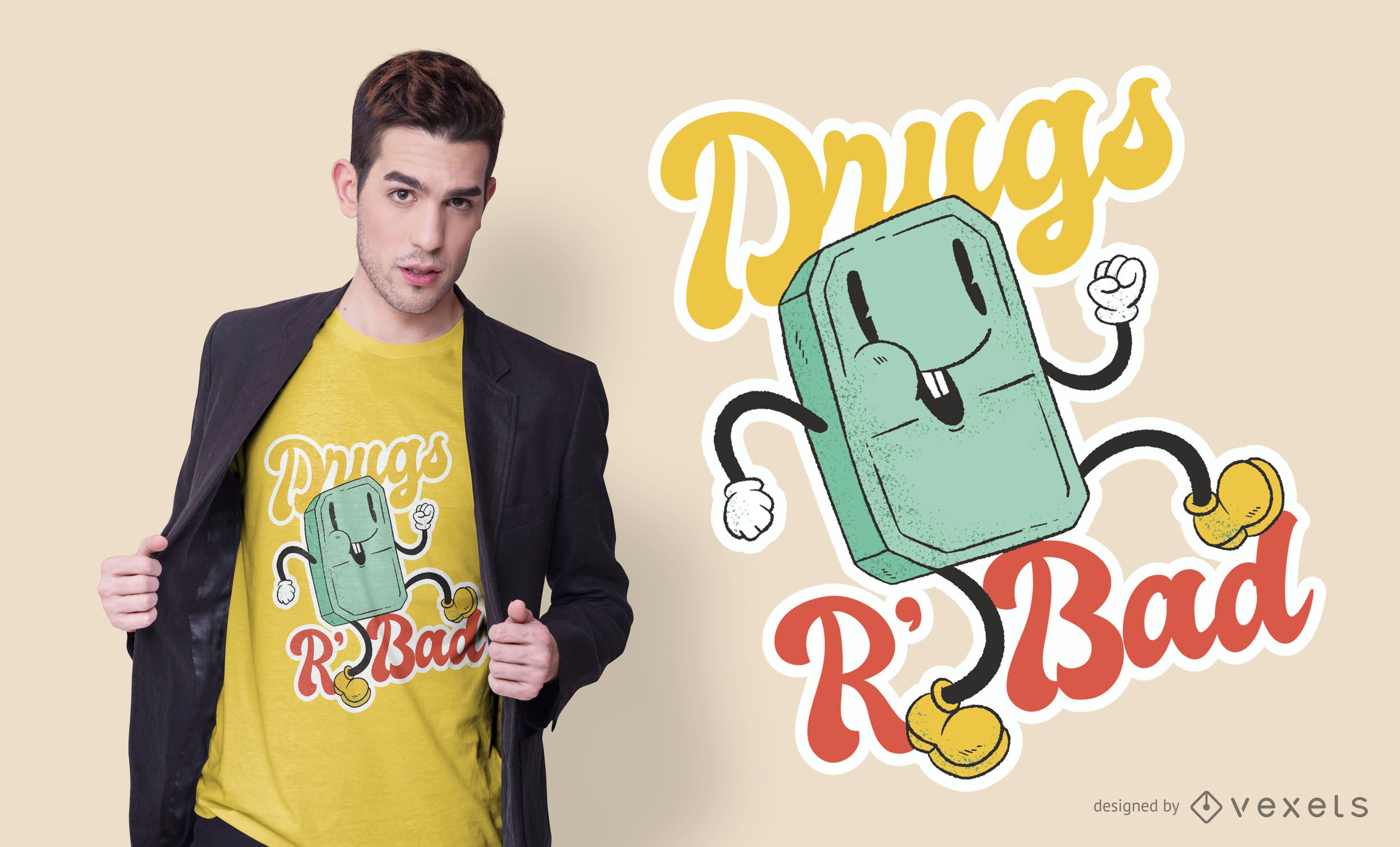 Drugs Are Bad Cartoon T-shirt Design