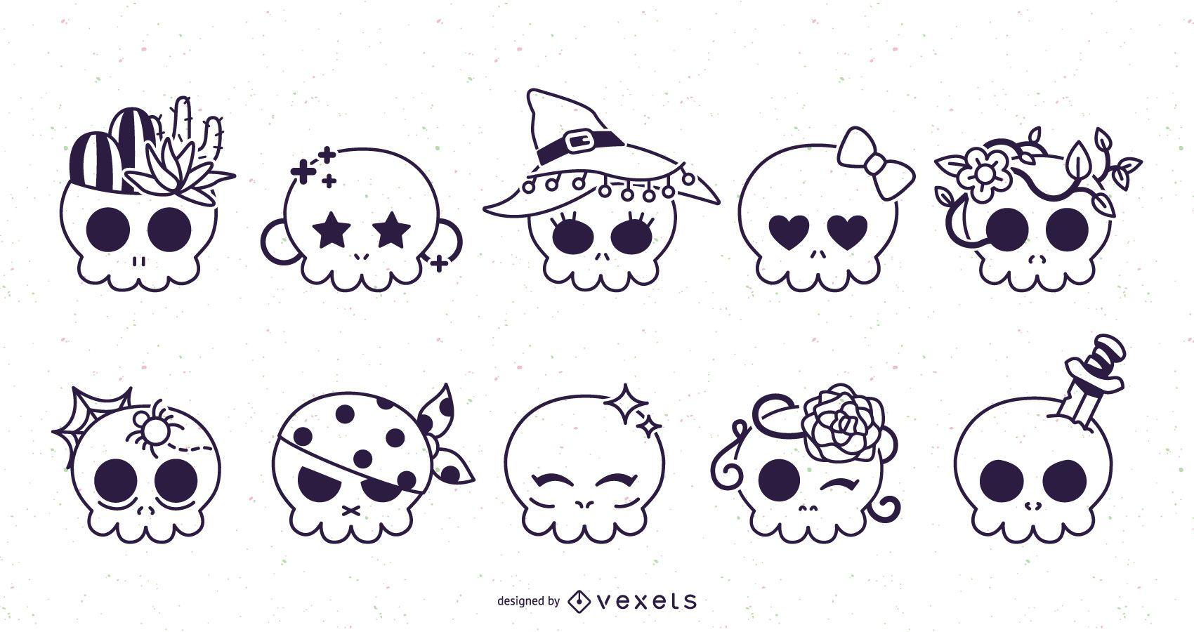 Cute skulls stroke set