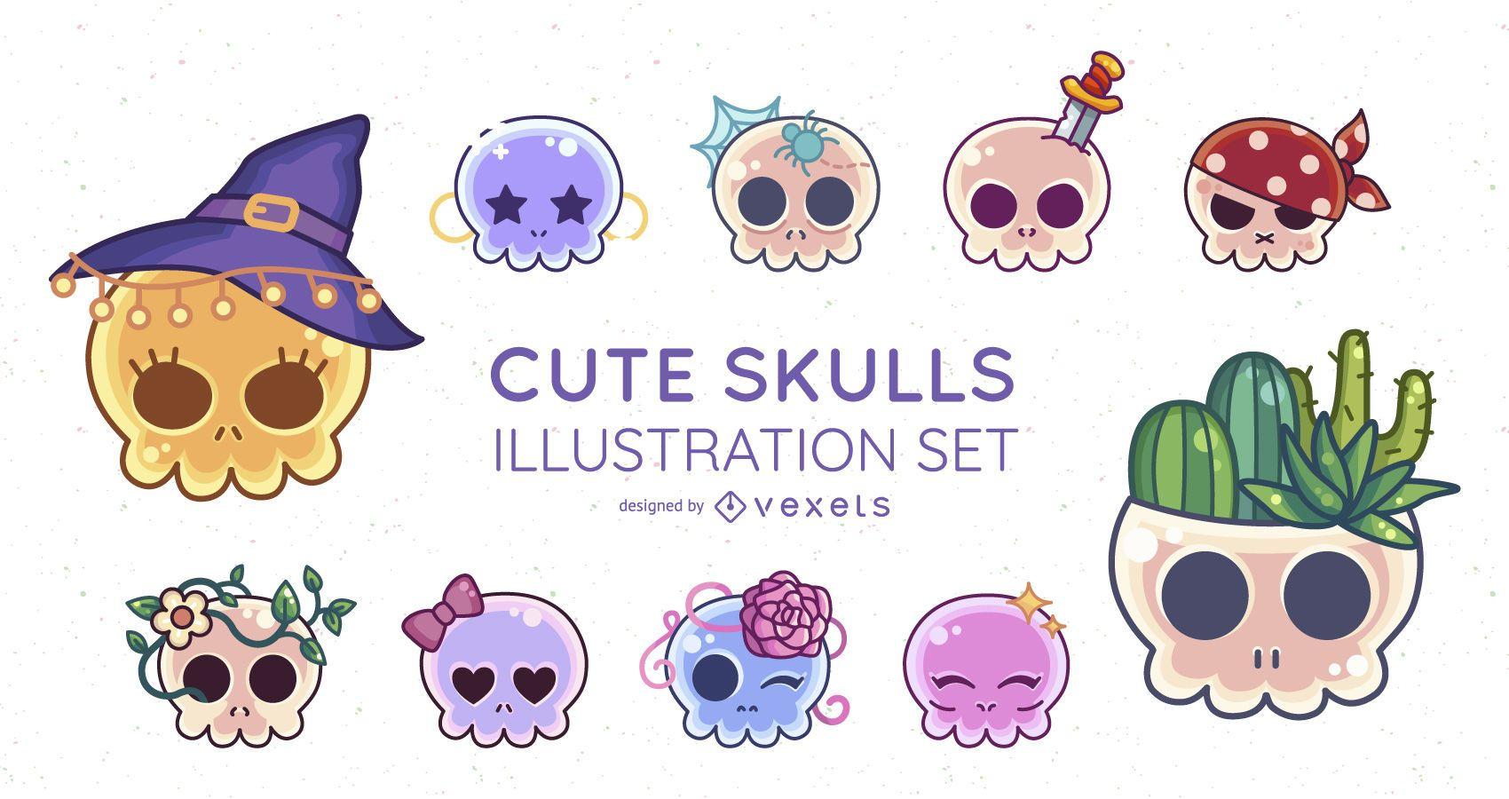 Cute skulls illustration set
