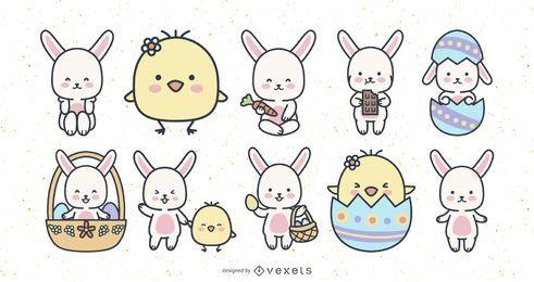 Lindo conjunto de conejos y pollitos de pascua