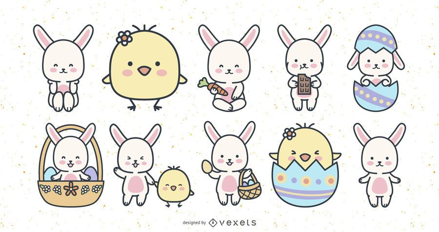 Cute easter rabbits and chicks set