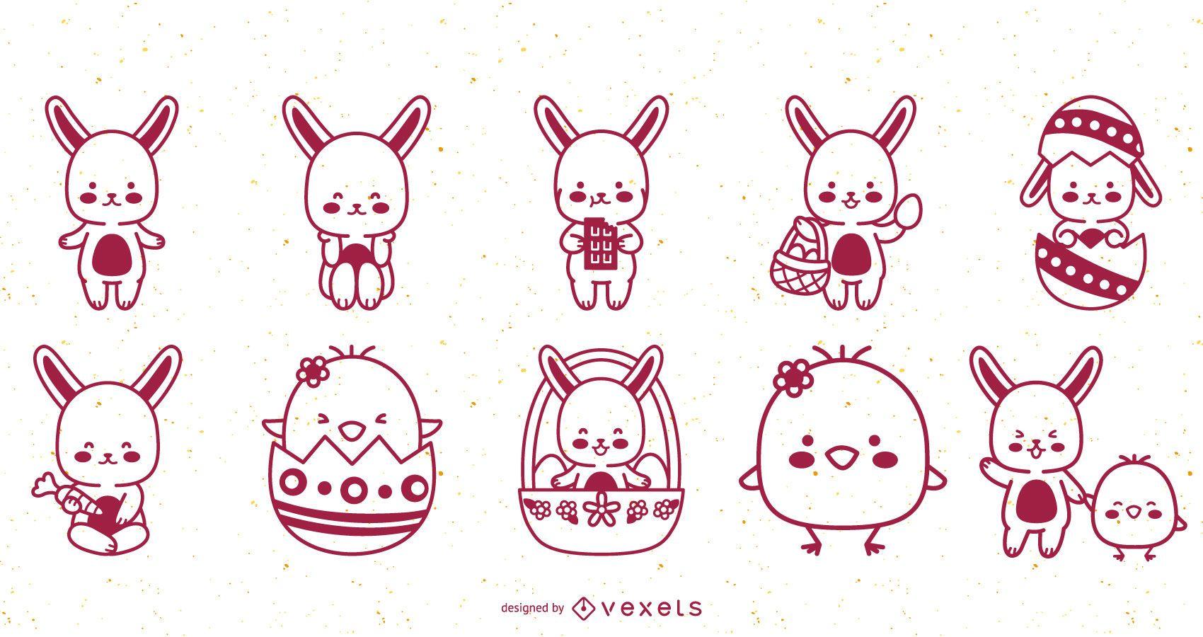 Cute easter rabbits chicks stroke set