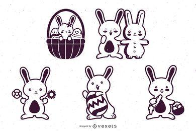 Lindo juego de caracteres de trazo de conejito de pascua