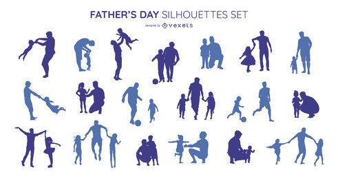 Father's day silhouette set