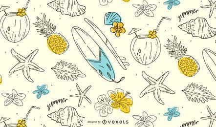 Sommer handgezeichnetes Musterdesign