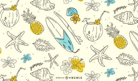 Verão mão desenhada padrão design