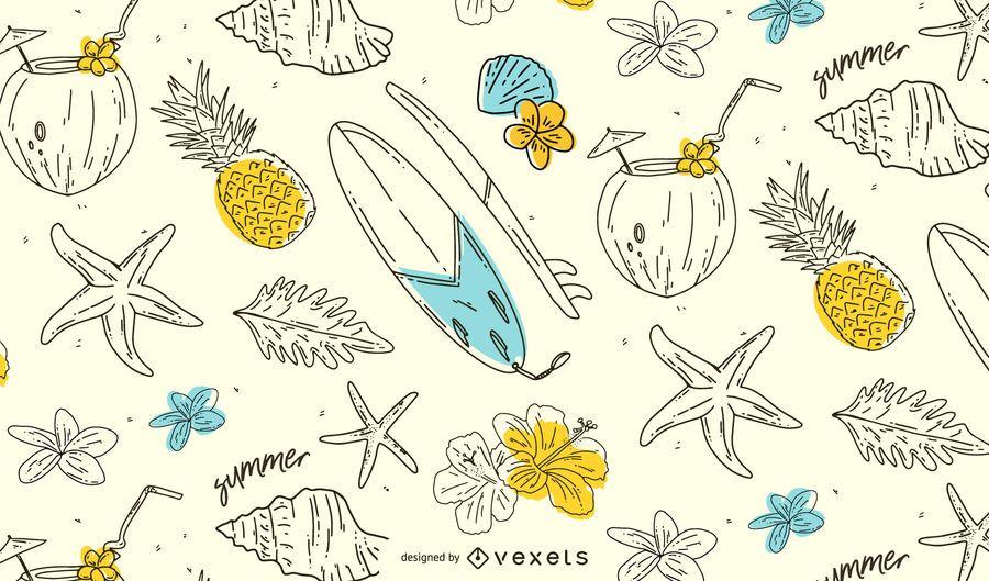 Diseño de patrón dibujado a mano de verano