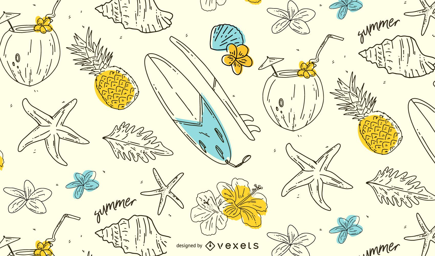 Desenho de padrão desenhado à mão de verão