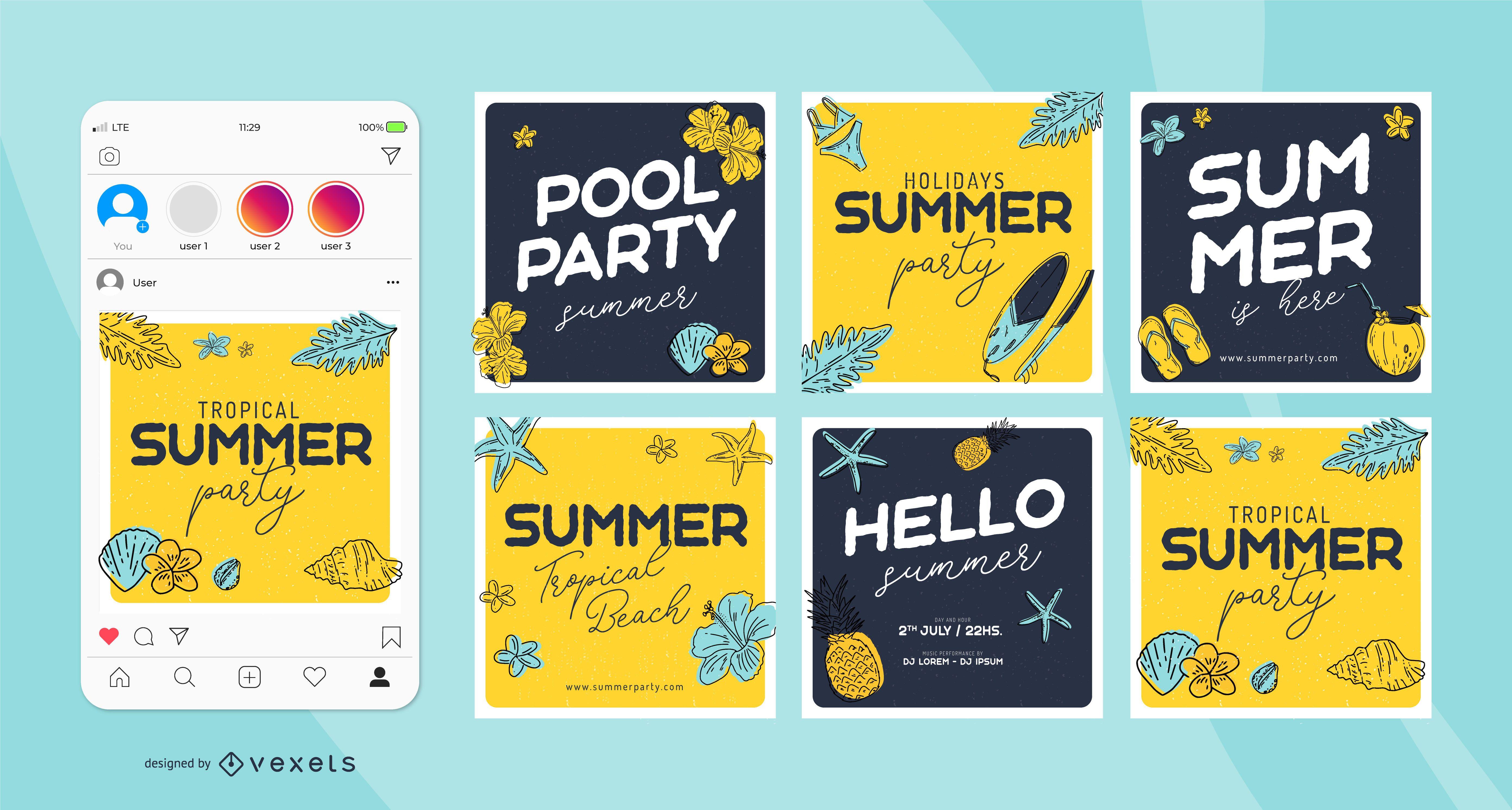 Conjunto de publicaciones de redes sociales de verano