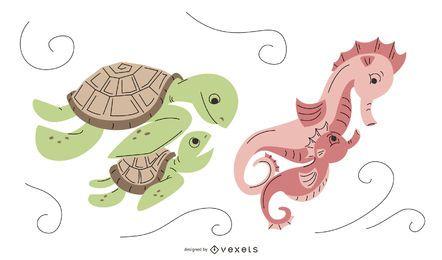 Pacote de Design para Mamãe Animal Aquático