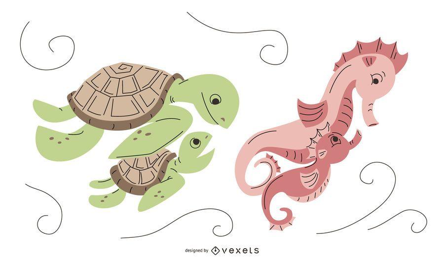 Pack de diseño de mamá de animales acuáticos