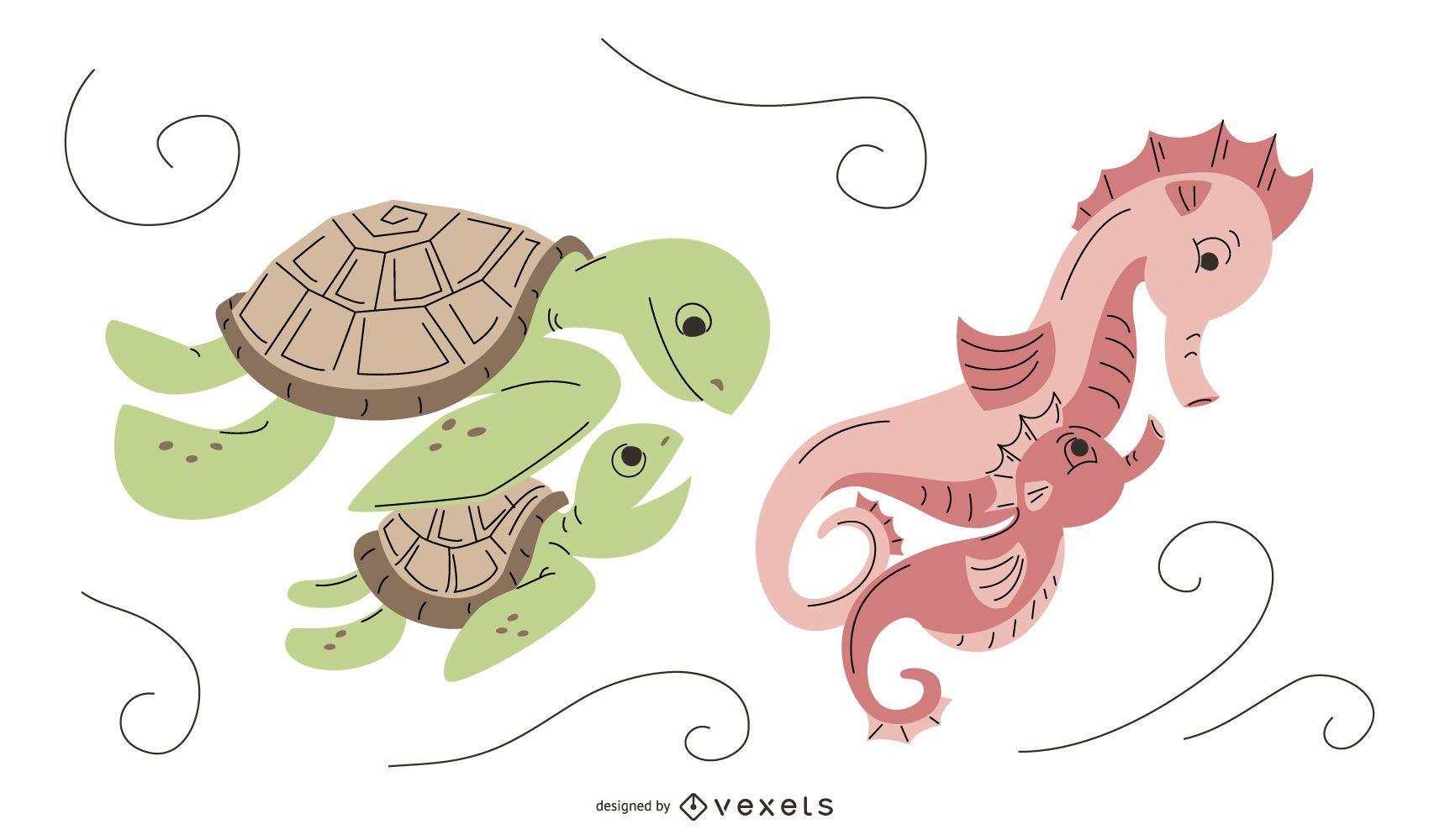 Paquete de diseño de mamá de animal acuático