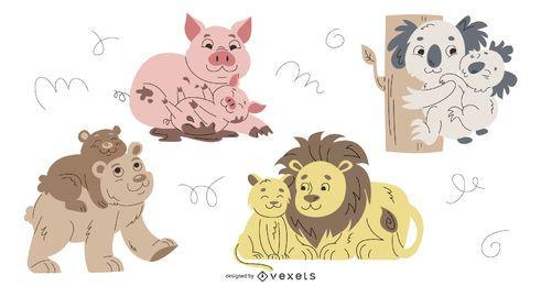 Conjunto de ilustrações de pais animais