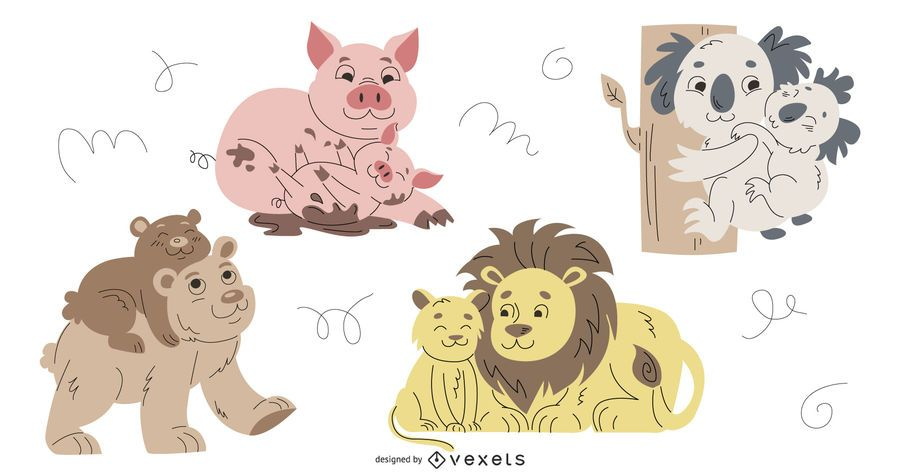 Conjunto de ilustración de animales padres