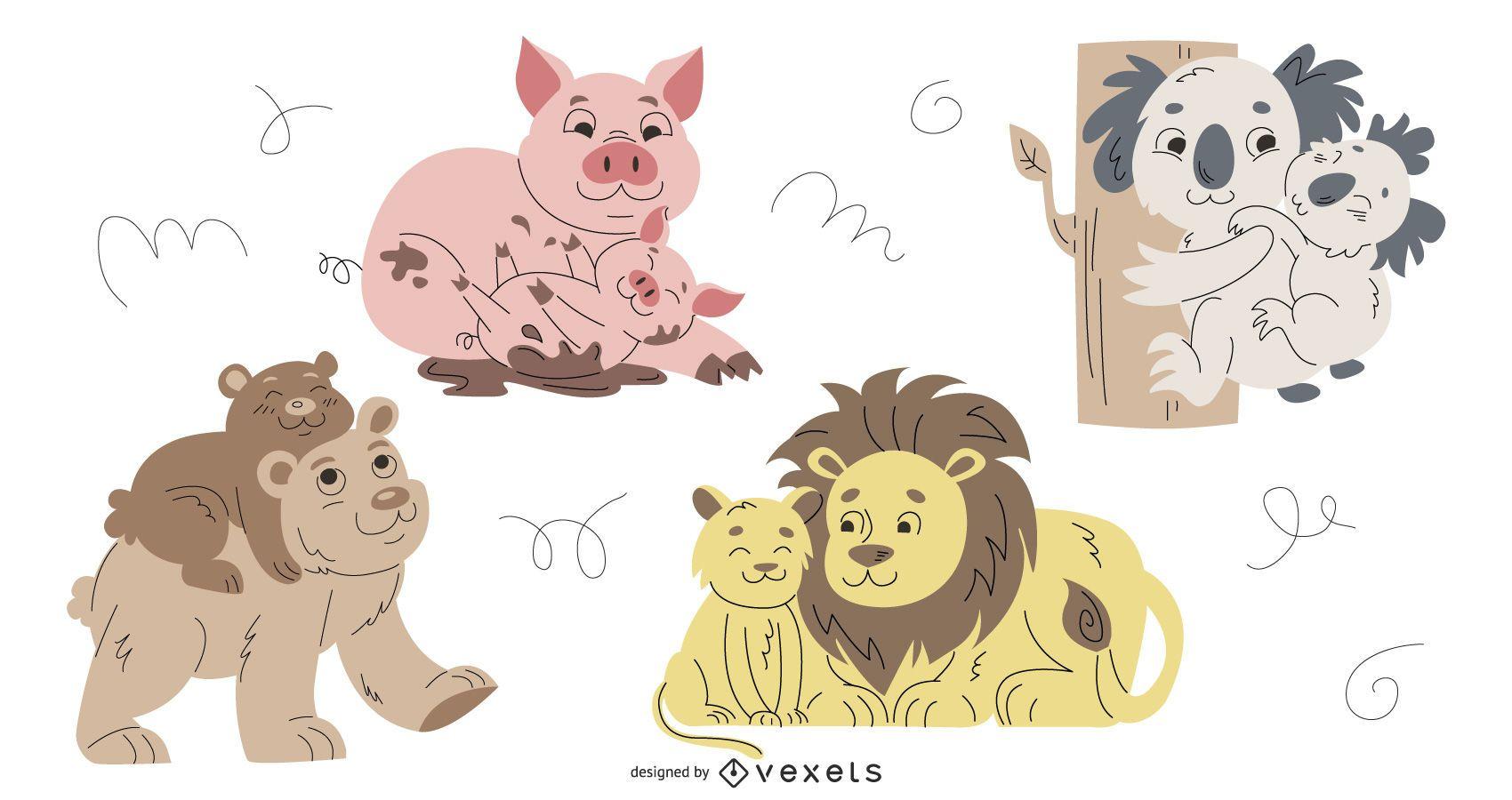 Animal Parents Illustration Set