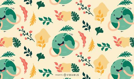 Cute earth day pattern design