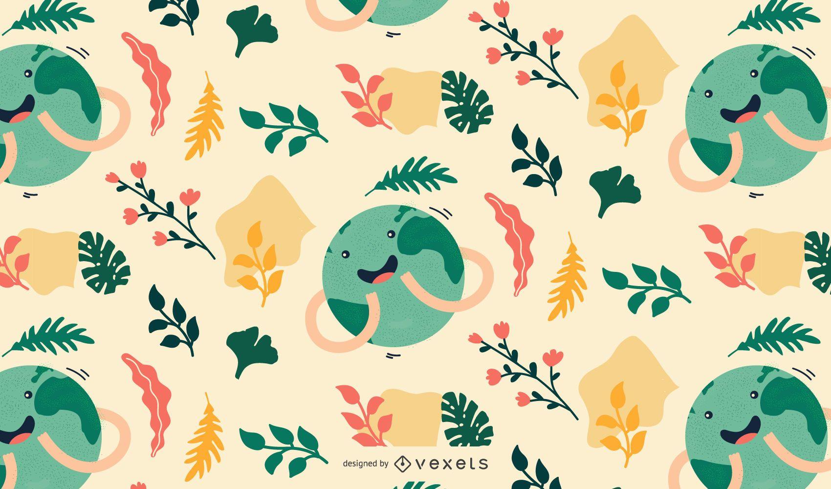 Cute earth day pattern design
